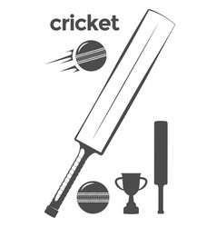 Set of cricket design elements vector