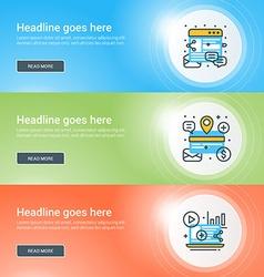 Set of flat line business website banner templates vector image