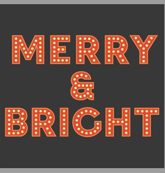 Set of retro light bulb alphabet for christmas vector