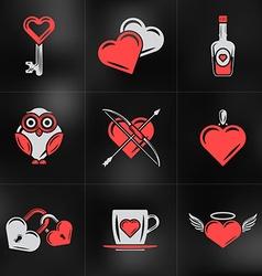 Set of St Valentines Day Design Elements Love vector image