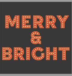Set retro light bulb alphabet for christmas vector