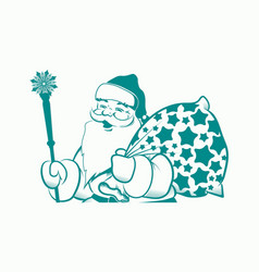 silhouette of santa claus beige with a staff and a vector image