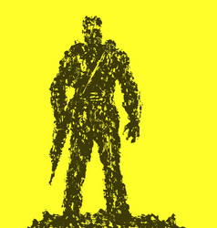 silhouette of soldier with rifle pointing down vector image
