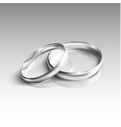 silver wedding rings on white background vector image