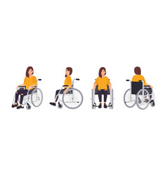smiling young woman in wheelchair isolated on vector image