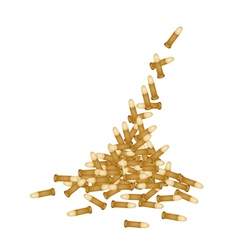 Stack of Gun Bullets on White Background vector image