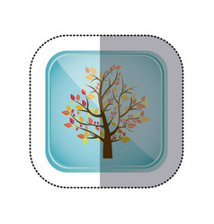 sticker colorful square frame and blue background vector image