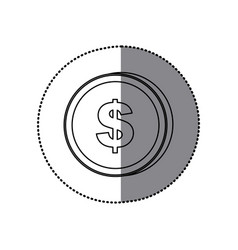 Sticker silhouette coin with dollar symbol vector