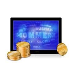 Tablet pc with golden coins vector image