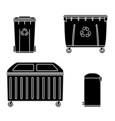Thrash and recycling can garbage container set vector