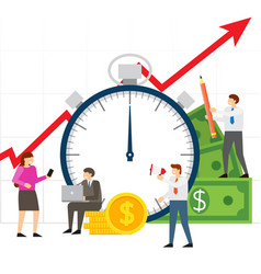 Time is money team of people working on business vector