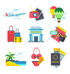 Travel time icon set in flat style signs vector