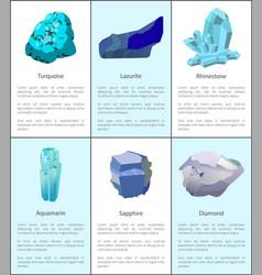Turquoise lazurite rhinestone aquamarine sapphire vector