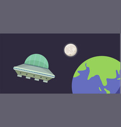 ufo spaceship in cartoon style vector image