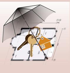 umbrella keyring with keys house plan background vector image