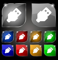 USB icon sign Set of ten colorful buttons with vector image