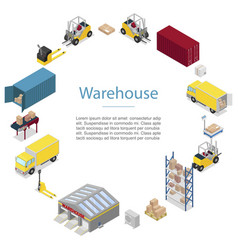 warehouse cargo transportation icons in circle vector image