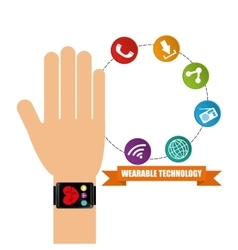 wearable technology hand watch health app vector image