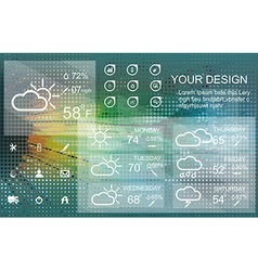 Weather widget and icons on floral background vector
