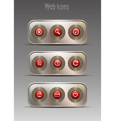 Web icon on metal plates vector