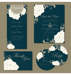 wedding floral cards set vector image