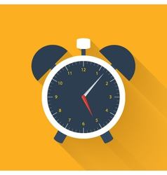 White alarm clock icon on a orange vector image