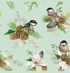 winter christmas birds seamless background vector image