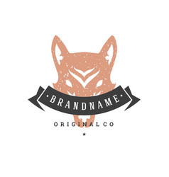 wolf hand drawn logo isolated on white background vector image