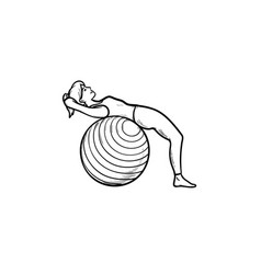 Woman doing pilates exercises hand drawn outline vector