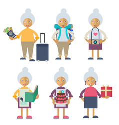 an old woman performing different actions vector image vector image