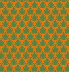 Green papaya leaf pattern in orange background vector image