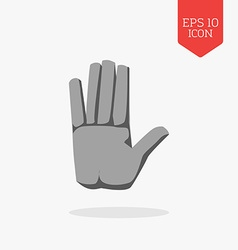 Hand icon Stop sign concept Flat design gray color vector image vector image