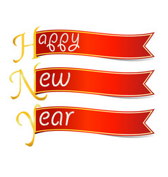 happy new year text with red ribbon vector image vector image