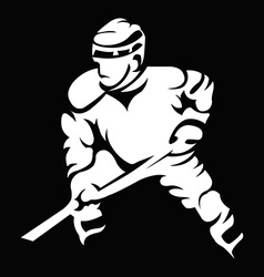 Hockey Player in Movement Mascot Silhouette vector image