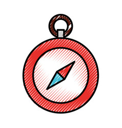 Scribble cute red compass vector