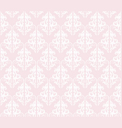 damask seamless pattern background pastel pink vector image