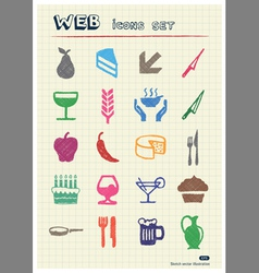 Food icons set drawn by color pencils vector image vector image