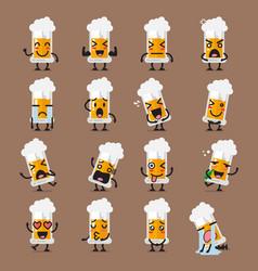 glass of beer character emoji set vector image vector image