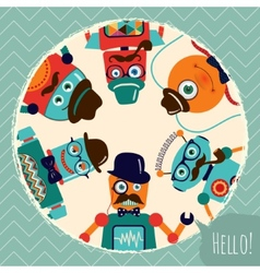 Hipster Retro Robots Card vector image vector image