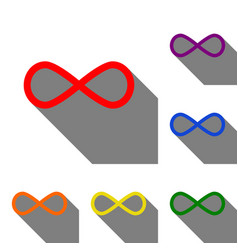 limitless symbol set of red orange vector image