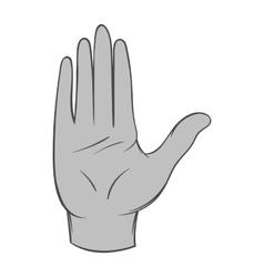 Open palm icon black monochrome style vector