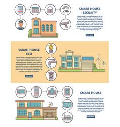 smart house concept horizontal banner set vector image
