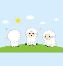 three funny sheep vector image