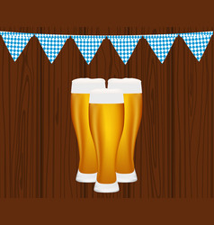 beer and flags for the oktoberfest festival vector image vector image