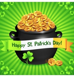 Black pot of leprechauns gold with lucky clovers vector image vector image