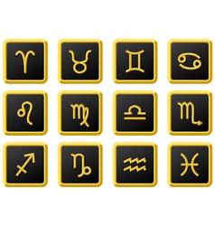 golden zodiac sign in squre frame vector image