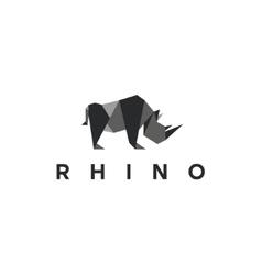 Polygons rhino low poly animal logo vector