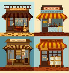 shops facades set vector image vector image