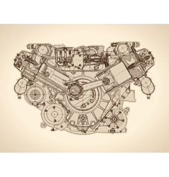 Vintage engine old picture vector image vector image