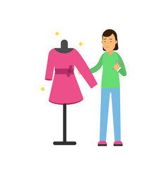 young woman tailor sewing dress on a dressmaker s vector image vector image